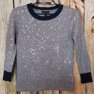 J.Crew Gray scattered Sequin Sweater Blue edging